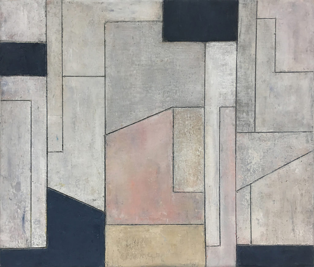 Geometric abstract with pale colors and black.