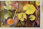 painting of a variety of pond folliage and autumn leaves floating on water and just below the surface