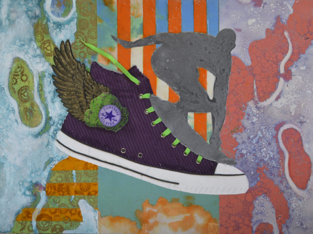 a high top sneaker with green loaces and bronze colored wings.  An outline of thr Silver Surfer is on the top of the sneaker.  on the background which is divided into three horizontal strips, have foot prints, on watermarked, striped and granite looking backgrounds