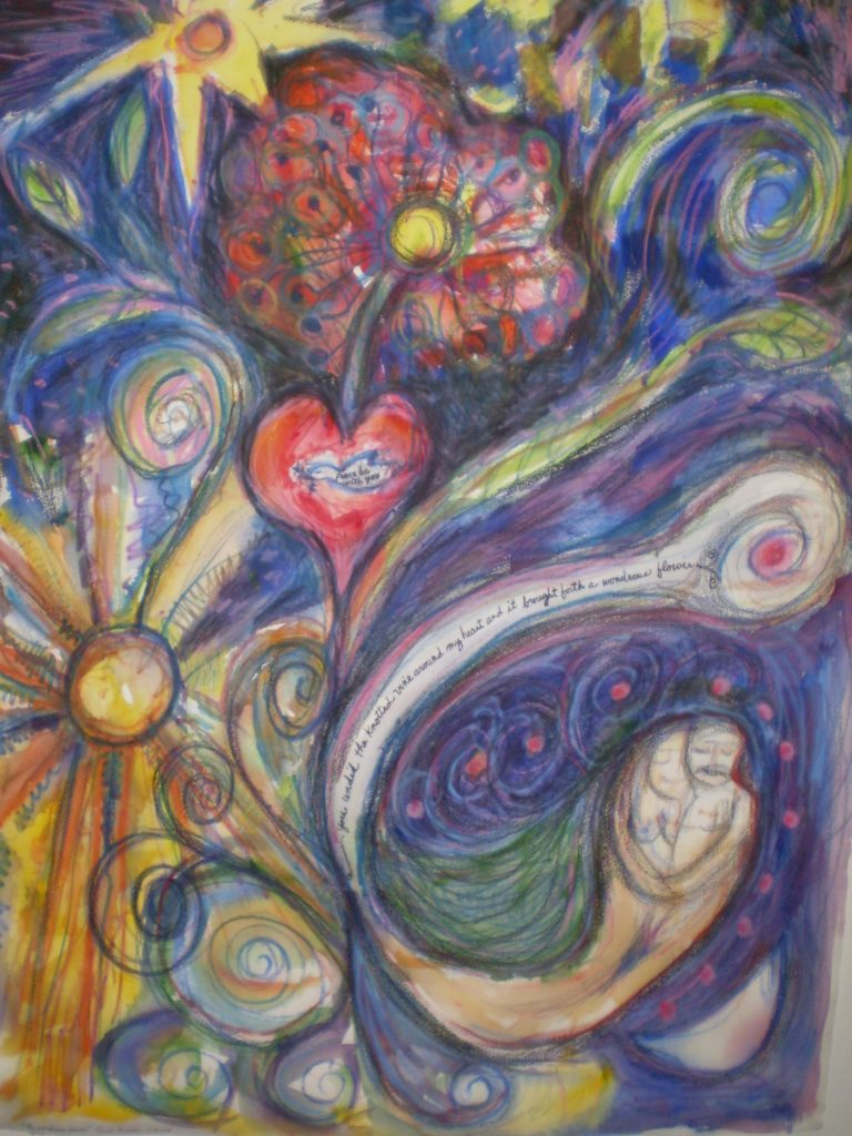 Abstract work with a sun, stars, flowers, hearts, a couple embracing and multi colored swirls