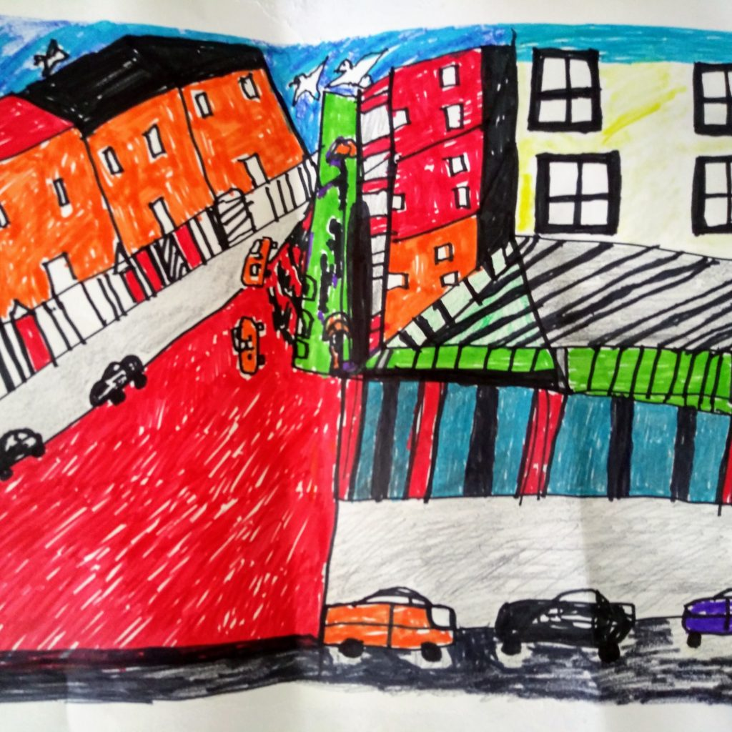 child like image of a street scene with shops, apartments and vehicles