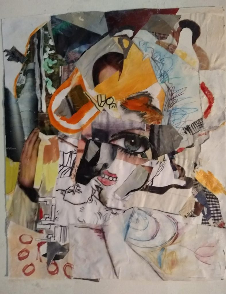 abstract paper and painting collage with a half hidded woman's face in the center of the work.