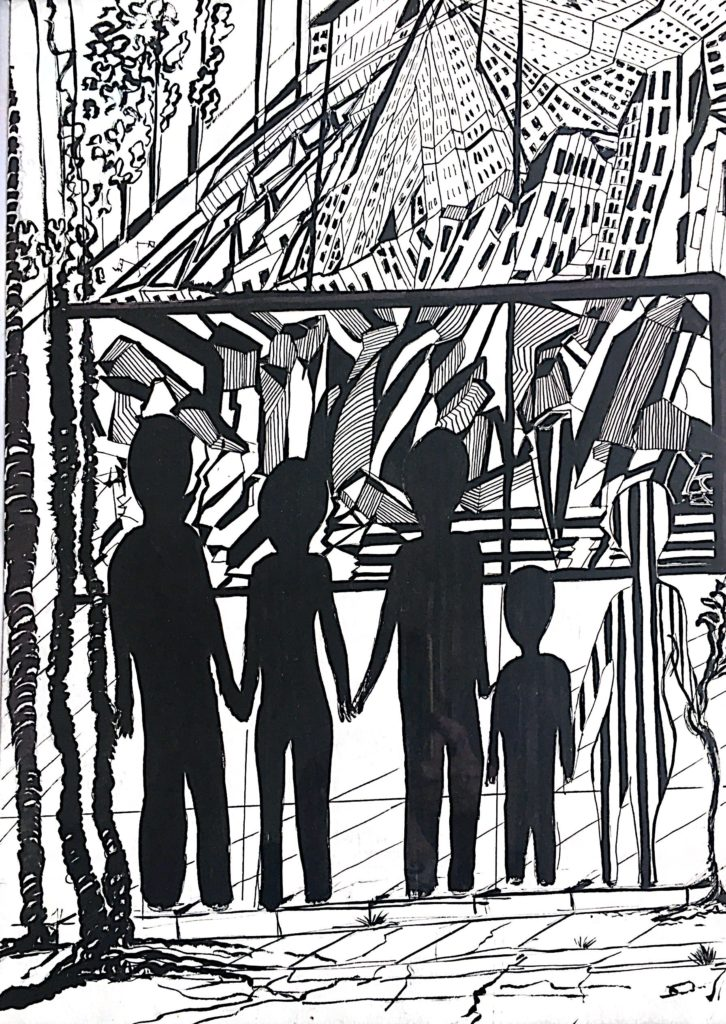 a black and white  image of a family of 5 holding hands on the sidewalk under a towering forest of buildings