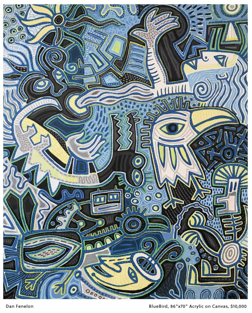 An aboriginal style image, densely packed with people, birds and animals mainly in flue and yellow