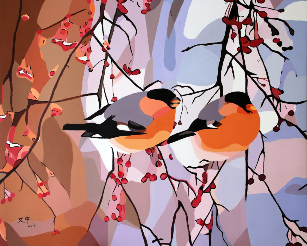 two robbins on branches with red berries with a snowy background