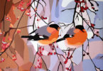 Two birds on branches with berries with a snowy background.