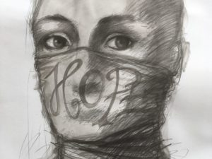 "Bald-headed person with a face mask covering the lower half of their face with text reading ""HOPE""."