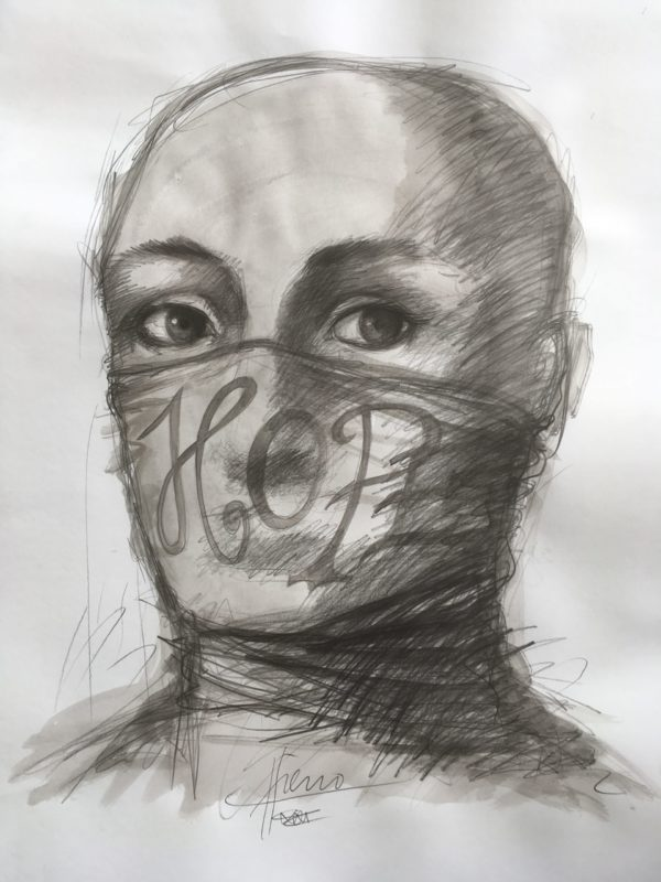 pencil drawing of a bald headed person iwth a face mask covering the lower half of the face. The mask has HOPE written on it.