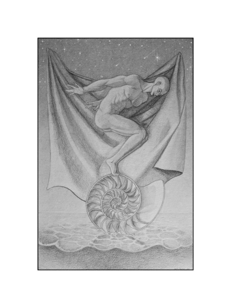 pencil drawing of a naked man crouched on a halved seashell floating on a paved surface, in front of a draped cloth with a starry sky behind him.