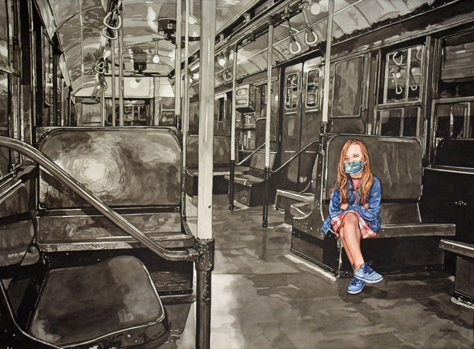 watercolor painting of a black and white old-style NY subway interior with a long haired girl in color wearing a blue shirt, blue mask, striped pink and white skirt and blue sneakers.