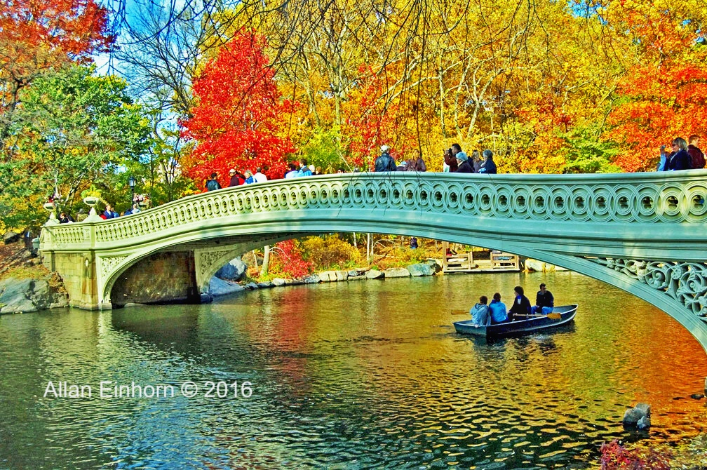 photograph of a bridge over water, row boat with four people in it, people on the bridge and the trees are turning on a bright fall day