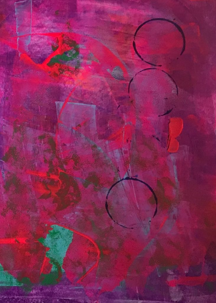 abstract painting mainly of reds, some green and purple with 3 black rings