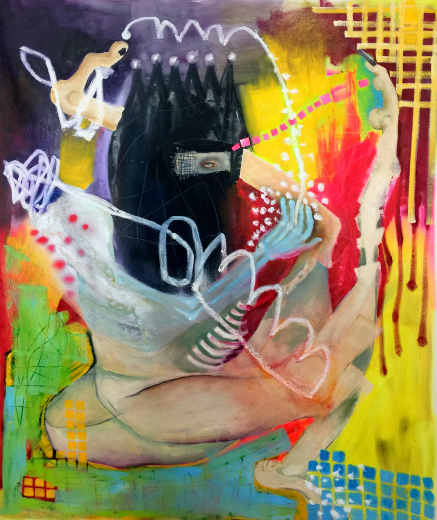 Colorful abstract work showing a seated, masked humanoid