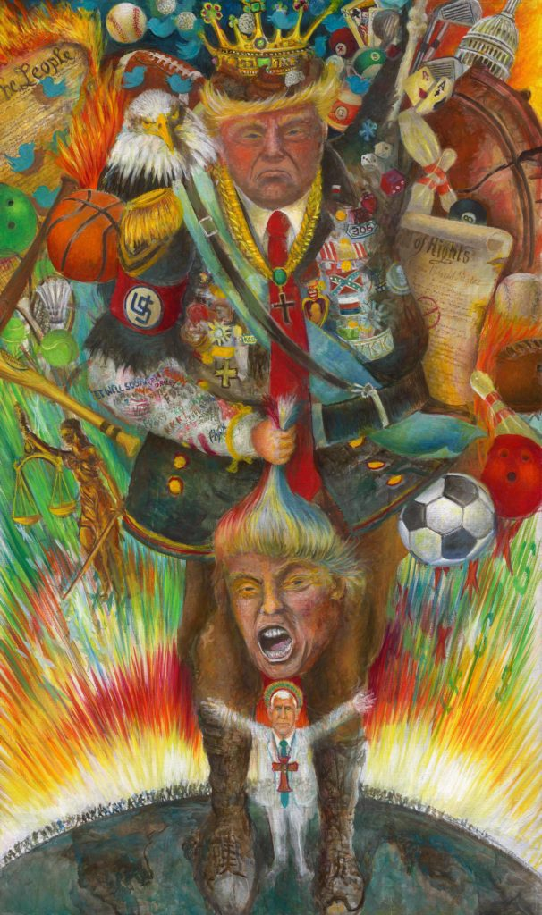 A satirical and political image of a small Mke Pence standing in front of Donald Trump holding a head of  Donald Trump in his right hand and adorned with symbolism of the United States and American Life.