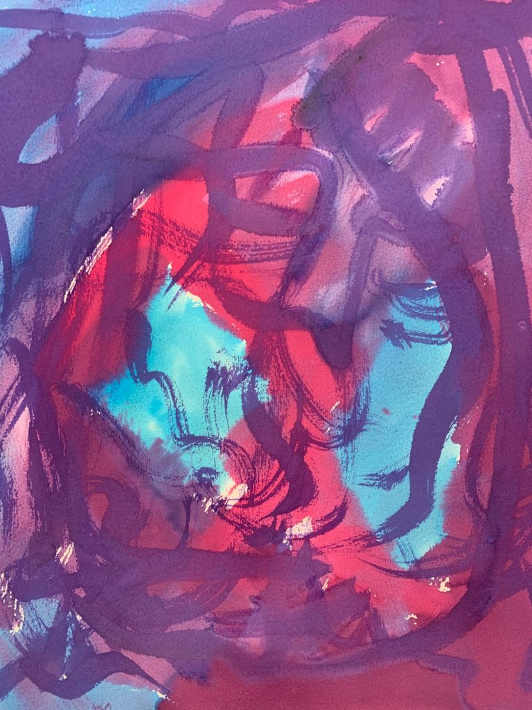 Abstract expressionist multiple strokes in purple and red ranges on a light blue background