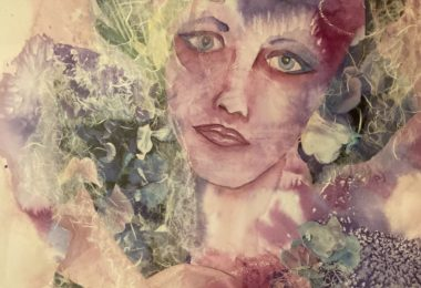 portrait of woman in a misty abstract background