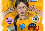 A woman has her fingers in her ears surrounded by symbols and logos found on the internet.