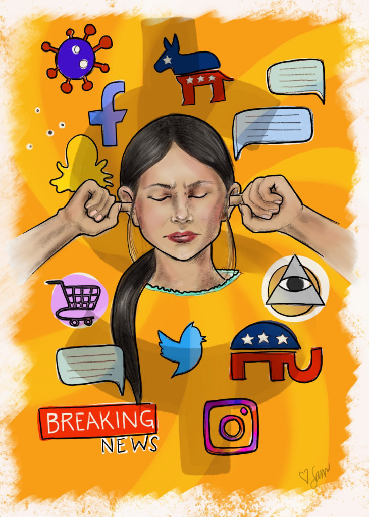 a dark haired woman with her fingers in her ears currounded by symbols and logos found on the internet, all on a yellow bakground.
