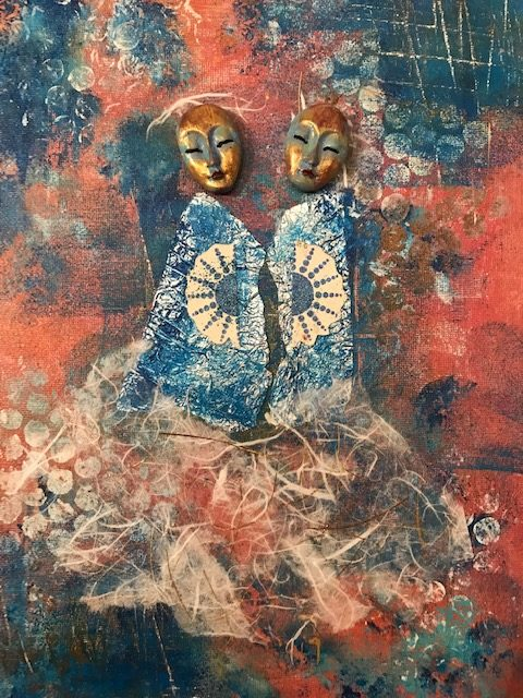 two elegant masks and figures standing together looking over their shoulders to the viewer, wearaing abstract dresses and blue jackets with a fan motif on the shoulder. background in blue and red.