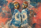 Two figures with masks standing together looking at the viewer, wearing dresses against an abstract background.