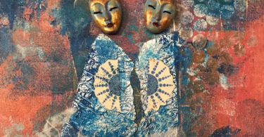 two elegant masks and figures standing together looking over their shoulders to the viewer, wearaing abstract dresses and blue jackets with a fan motif on the shoulder. background in blue and red. cropped image of original