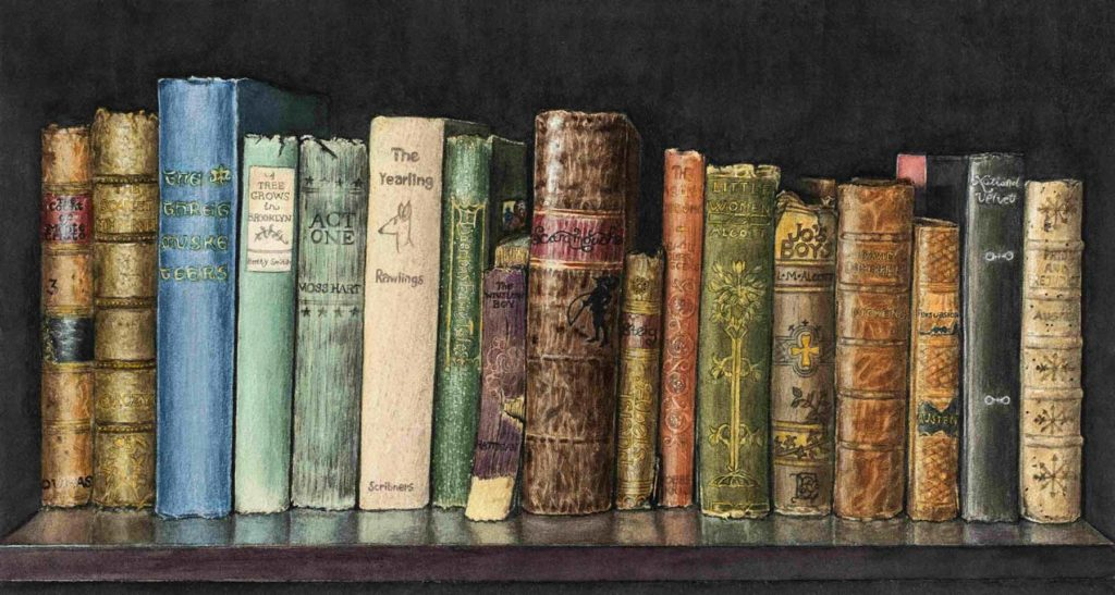 Watercolor of numerous books on a shelf.