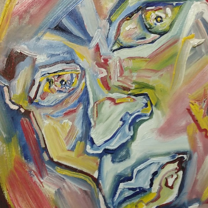 abstract painting of a face  - closeup of eyes, nose and mouth