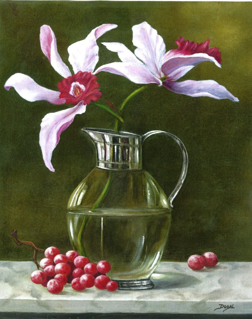 oil painting of pink orchids in a glass pitcher, half filled with water.  Grapes are scattered on the marble table top next to the pitcher
