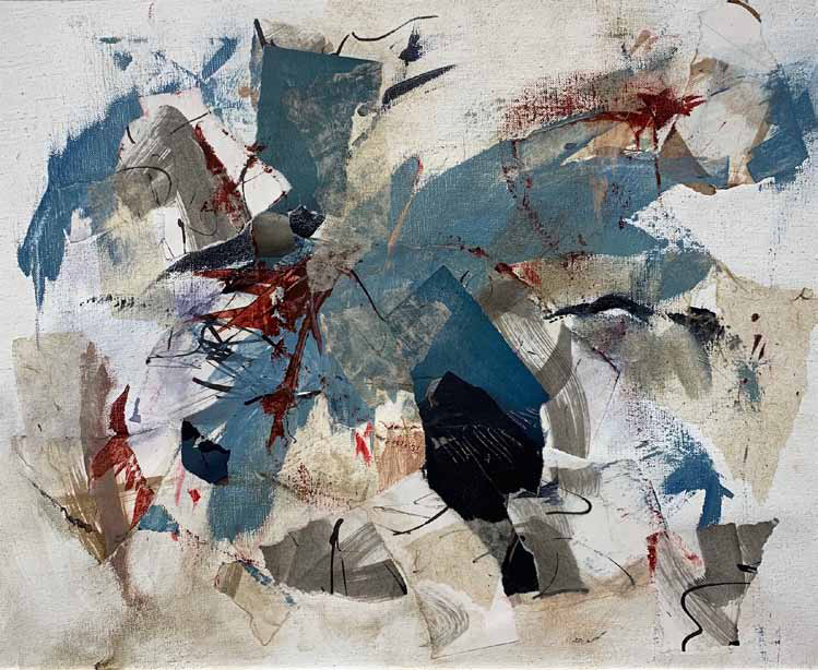 paiting and collage abstract work in blues, browns and blacks