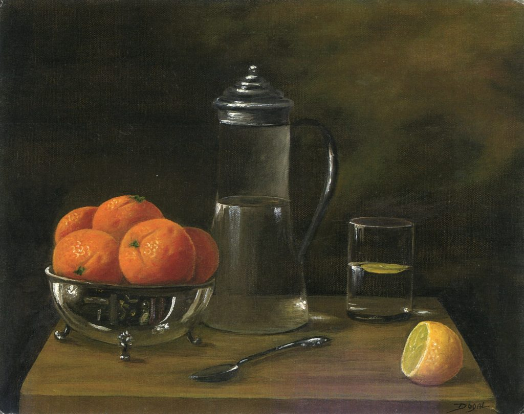 oil painting of oranges in a silver bowl, glass pitcher with silver lid, more than half full with water, a glass filled  half full with a slice of lemon, cut lemon and a silver spoon, all on a wooden table