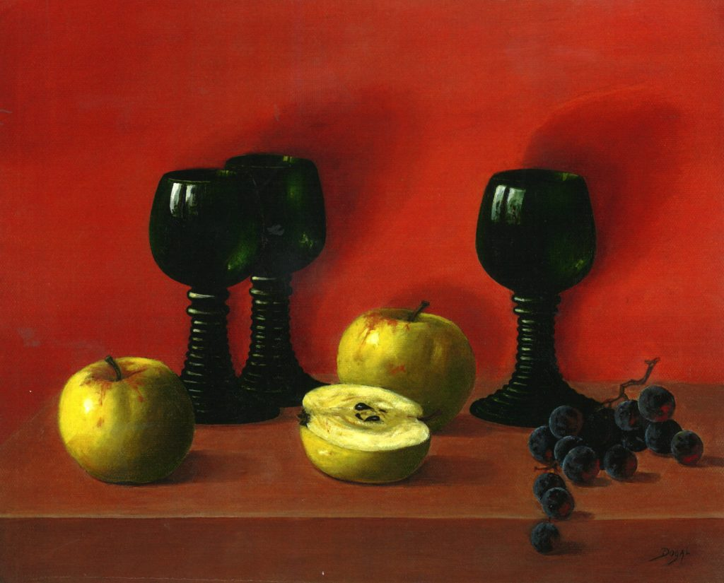 oil painting of an orange background and a brown wooden table.  The table holds two whole apples and one half apple, a sparse bunch of grapes, plus three green wine glasses with flared, ringed glass stems.