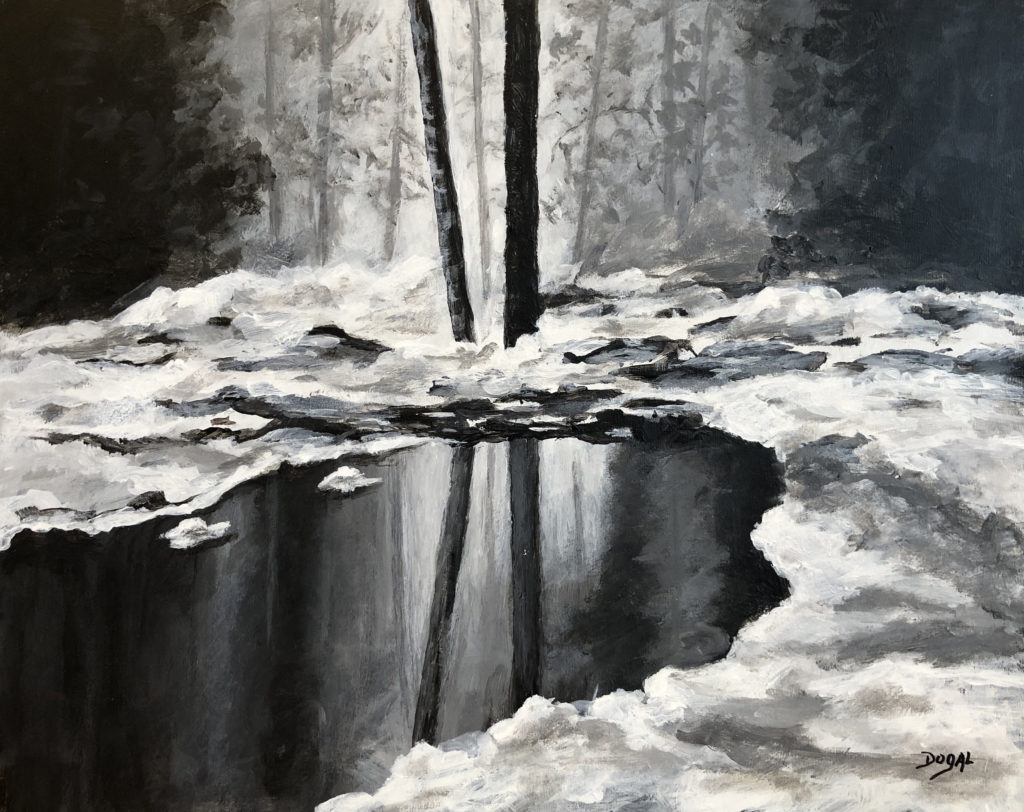oil painting mainly in black and white, with snow on the ground and a small expanse of water two thin bare wood trunks in the center of the painting and other frees in the background all reflected on the water