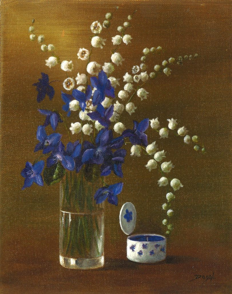 oil painting of a tall galss vase with blue violets and white lillies of the valley.  A white circular ceramic box with a hinged lid with blue flowers painted on it.  It has a blue interior. All on a brown background.