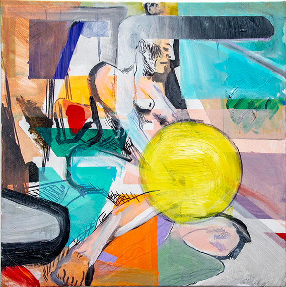 Abstracted figure of a woman with a large ball-like figure next to her. She is in an abstracted landscape.