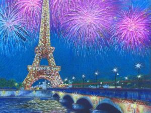 Eiffel tower surrounded by fireworks over a bridge.