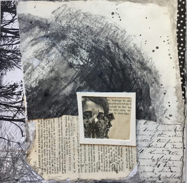 Collage of pages of text, abstract forms, and a face in the center with a butterfly covering their mouth.