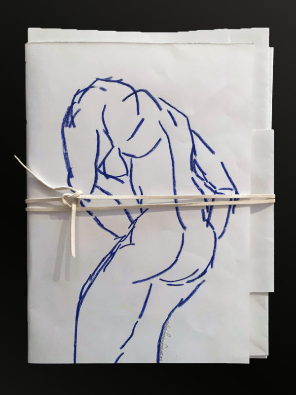 Pieces of paper tied together with a string. On the cover there is a drawing of a person seen from the back bending down.