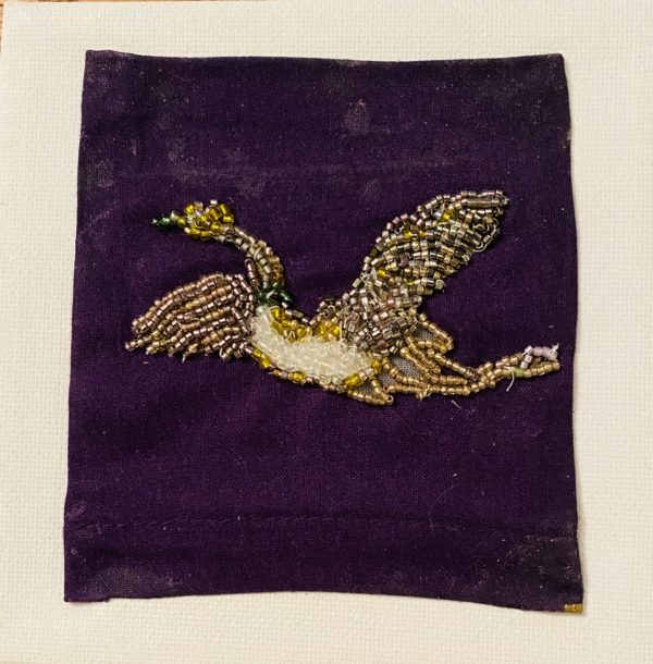 Bead embroidery white belly bird