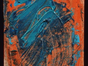 Abstract painting with thick paint strokes and both warm and cool-toned colors.