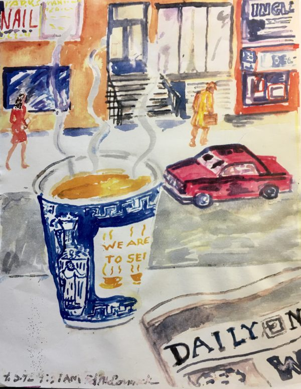 A coffee cup with steam coming out next to a newspaper. It is overlooking a city street with cars and people walking.