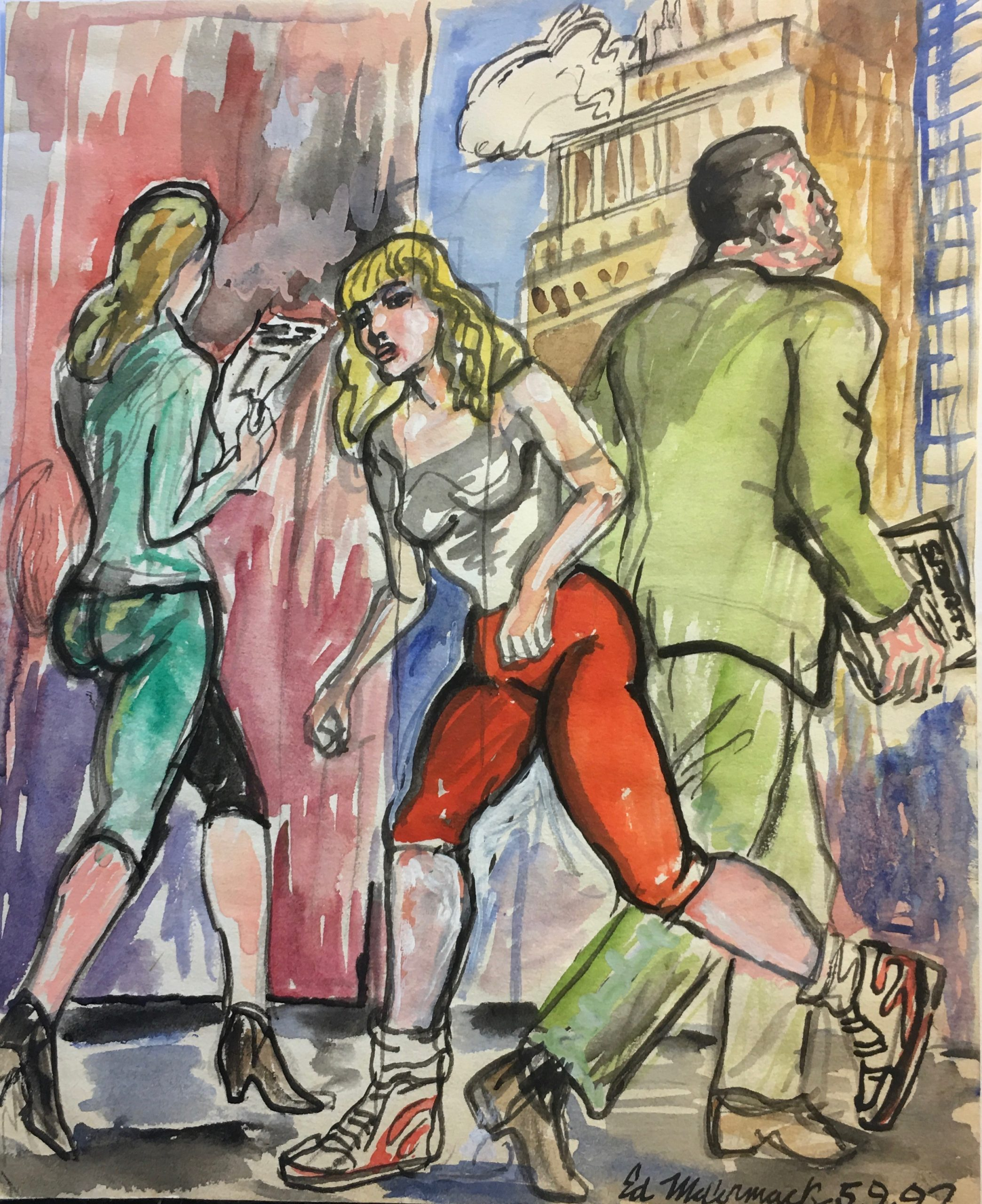 Woman running in a city landscape with two figures behind her walking the opposite direction.