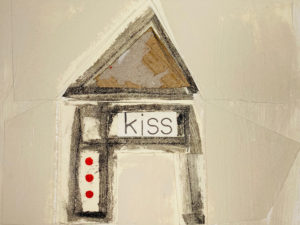 "A collage of media showing a house with the word ""kiss"" written on it."