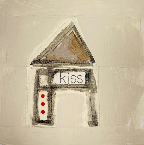 """A collage of media showing a house with the word """"kiss"""" written on it."""