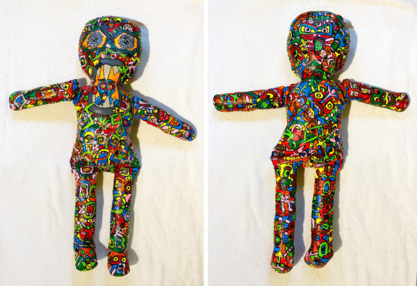 Frontal and Back-view of a plush figure made up of smaller graphic illustrations.