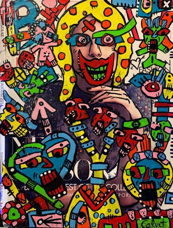 Graphic multi-colored drawings drawn on top of a magazine ad.