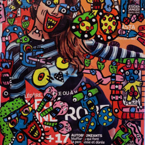 Graphic multi-colored drawings, with multiple snake-like figures and human faces, drawn on top of a magazine ad.
