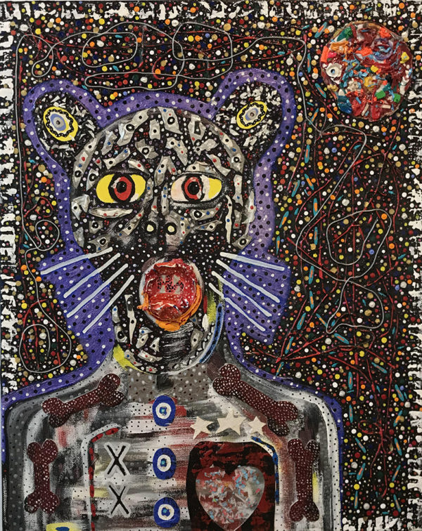 Multi-colored abstract figure with cat ears and whiskers.