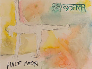 "Figure in a yoga pose with English text that says ""HALF MOON"" and text in another language."
