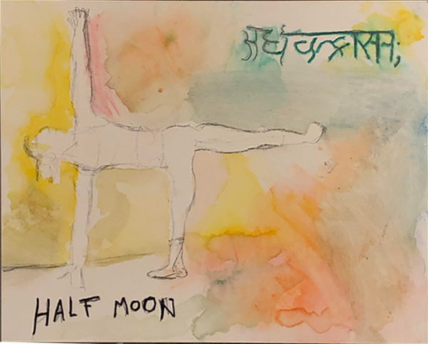 """Figure in a yoga pose with English text that says """"HALF MOON"""" and text in another language."""