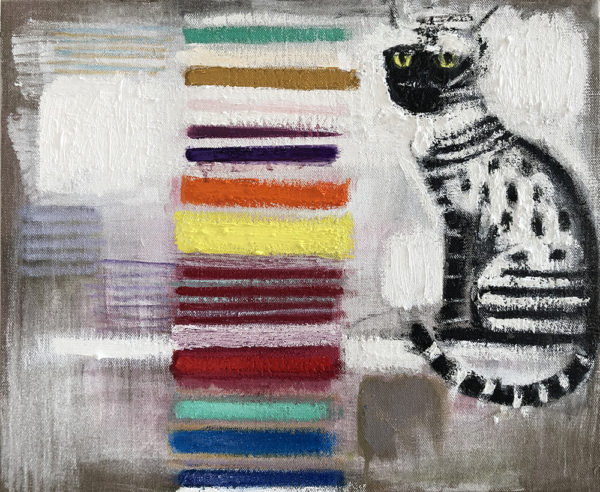 A cat sits next to multi-colored striations on an abstracted background.